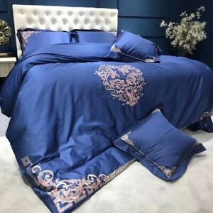 Luxury Embroidery Bedding Set 4/6pcs Duvet Cover Flat Sheet Pillowcase