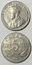 1927 ~ CANADA ~ 5 CENTS ~ GEORGE V ~ VG10 condition