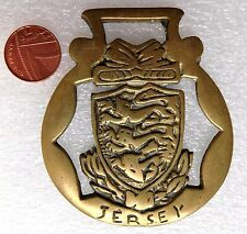 Vintage horse brass Jersey Channel Islands heraldic crest coat of arms