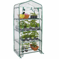 BCP 27x19x63in 4-Tier Mini Greenhouse w/ Roll-Up Zipper Door, Steel Shelves