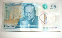 AA05 Bank Of England £5 Five Pound Note - New issue Plastic/Polymer ~