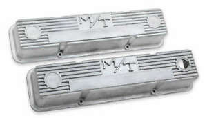 Holley 241-86 M/T Valve Covers for Small Block Chevy Engines – Natural Cast F...