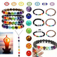 7 Chakra Aromatherapy Essential Oil Diffuser Bracelet Elastic Natural Stone Yoga