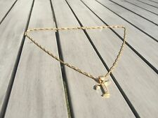 18ct Gold Filled Initial Necklace T, Alphabet Letter Pendant Chain Topaz Dainty