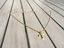 18ct Oro Lleno Collar inicial T, letra del alfabeto Colgante Cadena Topacio delicada