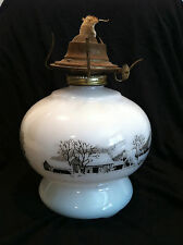 Vintage White Oil Lamp with Currier and Ives Pastoral Scene NO GLASS GLOBE