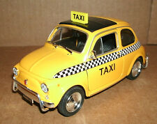 1/24 Scale Fiat Nuova 500 Taxi Cab Diecast Model Yellow Fiat 500L - Welly 22515