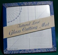 "CARD MAKING GLASS CUTTING MAT 13"" X 13""inch SQUARE TATTERED LACE ARTS & CRAFTS"