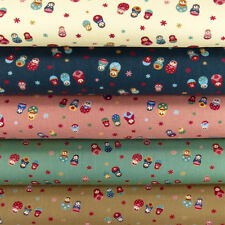 Cotton Fabric FQ Linen Look Russian Matryoshka Doll Toy Floral Star Material VM1