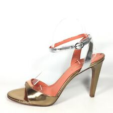 Via Spiga Rosemary Womens Size 9.5 M Gold/Silver Leather Heel Sandals.