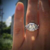 Fashion 925Silver Plated Princess Cut White Sapphire Ring Bridal Wedding Jewelry