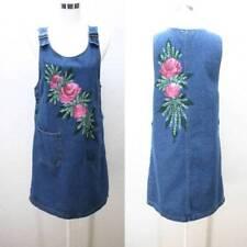 VTG 80's HAND PAINTED pink flowers overall jean bibs dress jumper pockets M