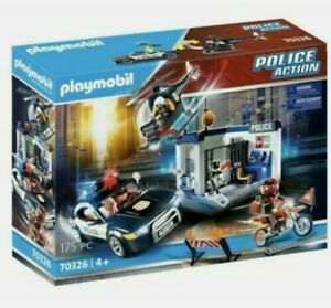 Playmobil Police Action Police Station Helicopter Car Motorcycle 70326 NEW BOX