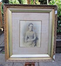 ANTIQUE PLASTER / WOOD FRAMED GOLD GILT PICTURE FRAME PLANK BACKED GLAZED