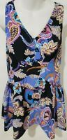 Maxine of Hollywood Empire Swimdress One Piece Swimsuit Black Blue Print