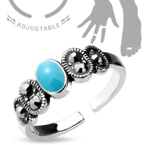Turquoise & Black Crystal Adjustable Mid Ring / Toe Ring