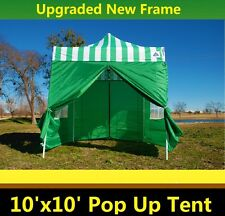 10'x10' Pop Up Canopy Party Tent - Green Stripe - F Model Upgraded Frame