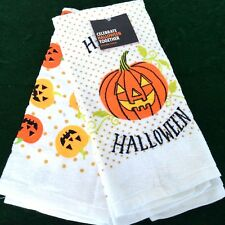 (2) Happy Halloween Hand Towel with Jack-o-Lantern design Kohl's New Free Ship