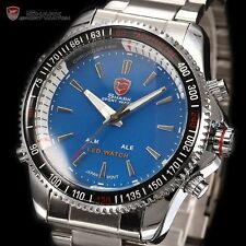 SHARK LED Digital Date Blue Dial Quartz Stainless Steel Men Sport Wrist Watch