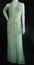 FLIRT MAGGIE SOTTERO GREEN BLUE YELLOW  8 GOWN DRESS LACE OVERLAY BEADS PEARLS