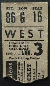 1962 Maple Leaf Gardens Hockey Ticket Stub Toronto Maple Leafs Detroit Red Wings