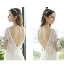 Long Chain Crystal Back Drop Necklace Wedding Bridal Tassel Choker Pendants