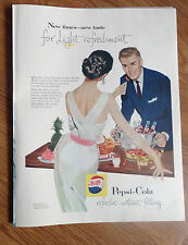 1957 Pepsi Cola Soda Ad    Couple Entertaining