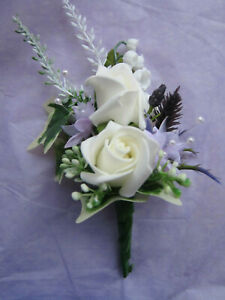 Buttonhole Wedding Flowers Rose, Astilbe & Thistle With Pin Attached