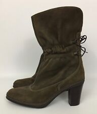 Clarks Artisan Brown Leather Cinched Shaft Lace Up Back Mid-Calf Boots Size 8M