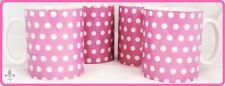 Pink Dots Mugs Set of 4 Porcelain Ceramic Pink Mugs Hand Decorated in UK