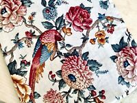 VTG 1982 5th Avenue Designs Upholstery/Pillow Linen Fabric Birds & Flower 3ps
