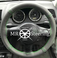 FITS PEUGEOT 207 2006-12 GREY TWO TONE LEATHER STEERING WHEEL COVER GREEN STITCH