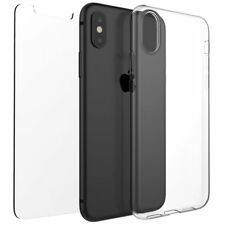 For New Apple iPhone X Clear Gel Rubber TPU Soft Back Case And Free Glass Cover