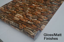 Peel & Stick Wall Paper, Vintage Rustic Faux Rock Stone Wallpaper 2ft Wide
