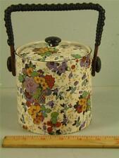 ANTIQUE LANCASTER & SONS L & SONS HANLEY ENGLAND FLORAL CHINTZ  BISCUIT JAR