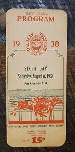 1938 Del Mar Horse Racing Program w/ Seabiscuit Ligaroti Match Race Promo!