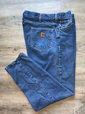 Carhartt Blue denim work jeans ~ mens 38 x 32, B113 DST