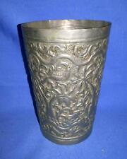 Antique Old Collectible Hand Embossed And Carved Silver Polish brass Milk Glass
