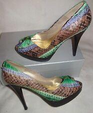 Stuart Weitzman Verde whipstitched Python DC PINCHO Zapatos De Plataforma Talla