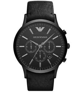 ••• Emporio Armani Herren Uhr AR2461 Chronograph Datum Leder Schwarz Neu •••