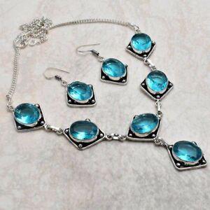 Blue Topaz Ethnic Handmade Necklace+Earrings Jewelry 41 Gms AN 4046
