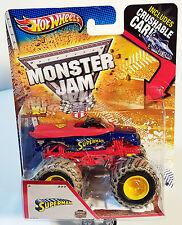 """Hot Wheels Monster Jam """"SUPERMAN"""" 2013 MATTEL W/ Crushable Car Mud Trucks Tires"""