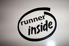 """""""runner inside"""" Decal Sticker Run Jog Marathon"""
