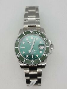 Submariner Watch Modded with Seiko NH35 Movement. Hulk Kermit Green Dial