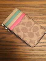 COACH Coated Canvas Signature Zip Card Case Tan Sand/Orchid/Sliver