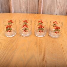 4 Vintage Candy Cane Clear Glass Drinking Glasses