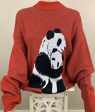 Vintage White Ram Brand Panda And Cub Sweater Large