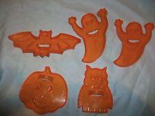 5 Orange Plastic Halloween Cookie Cutters Amscan Owl Bat Ghost Pumpkin