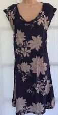 WHITE STUFF 10 vgc ladies purple floral jersey cowl neck short sleeve midi dress