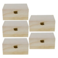 5pcs Unfinished Small Wood Craft Box Hinged Lid and Lock 17.5 x 8 x 12.5cm